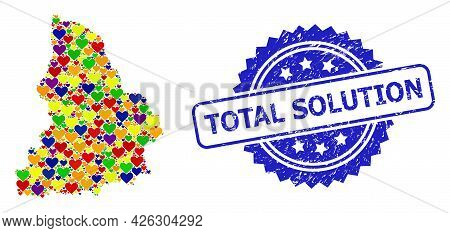 Blue Rosette Scratched Seal Stamp With Total Solution Phrase. Vector Mosaic Lgbt Map Of Sverdlovsk R