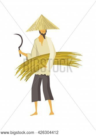 Asian Farmer In Straw Conical Hat. Asia Rural Culture. Chinese Farmer Carrying Yields Harvest In His