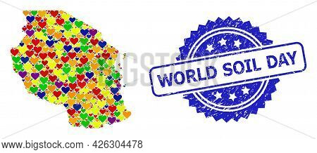 Blue Rosette Rubber Seal Imprint With World Soil Day Phrase. Vector Mosaic Lgbt Map Of Tanzania With