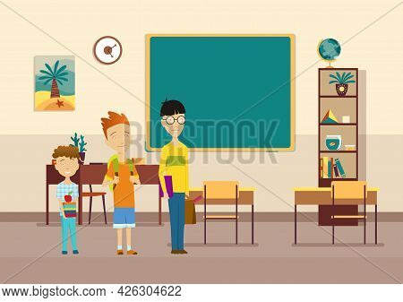 Classroom With Pupils. Primary School Kids. Modern Interior For Education. Boys Characters Ready To