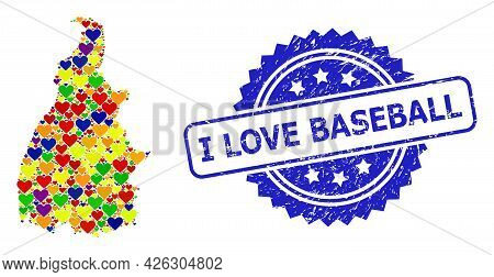 Blue Rosette Scratched Watermark With I Love Baseball Text. Vector Mosaic Lgbt Map Of Tocantins Stat