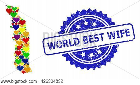 Blue Rosette Distress Seal Imprint With World Best Wife Phrase. Vector Mosaic Lgbt Map Of Togo With