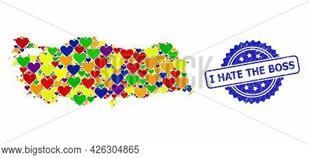 Blue Rosette Textured Watermark With I Hate The Boss Text. Vector Mosaic Lgbt Map Of Turkey With Hea