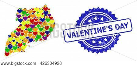 Blue Rosette Distress Stamp With Valentine S Day Title. Vector Mosaic Lgbt Map Of Uganda With Lovely