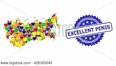 Blue Rosette Rubber Watermark With Excellent Penis Phrase. Vector Mosaic Lgbt Map Of Ussr With Lovel