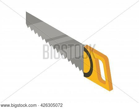 Handsaw Isometric Hand Tool. Detailed Icon Of Tool For Handyman Repair. Vector Equipment Of Builder