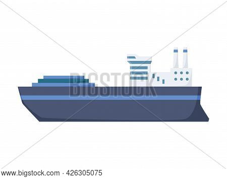 Large Industrial Steamer. Cargo Ship Side View Isolated On White Background. Commercial Ship, For Oc