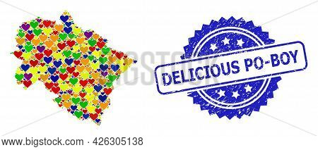 Blue Rosette Textured Seal Imprint With Delicious Po-boy Caption. Vector Mosaic Lgbt Map Of Uttarakh