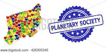 Blue Rosette Grunge Seal With Planetary Society Text. Vector Mosaic Lgbt Map Of West Pomerania Provi