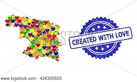 Blue Rosette Rubber Seal Imprint With Created With Love Caption. Vector Mosaic Lgbt Map Of Zamora Pr