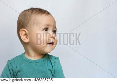 Sweet Little Baby Boy Portrait On White Background