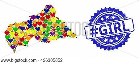 Blue Rosette Distress Seal Imprint With Hashtag Girl Title. Vector Mosaic Lgbt Map Of Central Africa