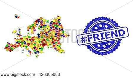 Blue Rosette Distress Watermark With Hashtag Friend Caption. Vector Mosaic Lgbt Map Of Europe With L