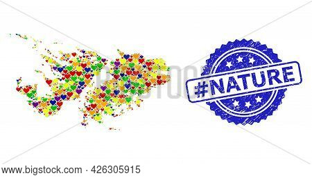 Blue Rosette Distress Seal Imprint With Hashtag Nature Phrase. Vector Mosaic Lgbt Map Of Falkland Is
