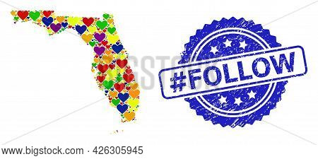 Blue Rosette Scratched Seal Imprint With Hashtag Follow Text. Vector Mosaic Lgbt Map Of Florida Stat