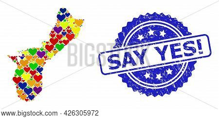 Blue Rosette Textured Seal Stamp With Say Yes Exclamation Phrase. Vector Mosaic Lgbt Map Of Guam Isl