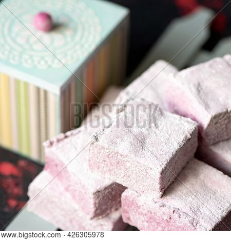 Berry Marshmallow Airy Dessert, Fluffy Sweetness. Stack Of Pink Pastille Pieces. Puffy Natural Paste