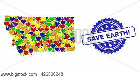 Blue Rosette Rubber Seal Imprint With Save Earth Exclamation Title. Vector Mosaic Lgbt Map Of Montan