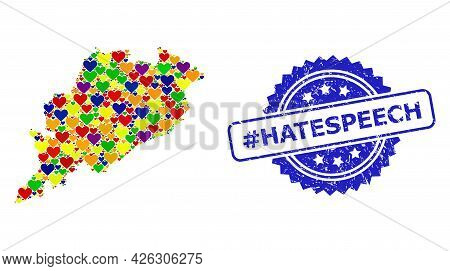 Blue Rosette Scratched Seal With Hashtag Hatespeech Text. Vector Mosaic Lgbt Map Of Odisha State Fro