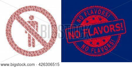 No Flavors Exclamation. Unclean Round Stamp Seal And Vector Recursive Mosaic Stop Man. Red Stamp Sea