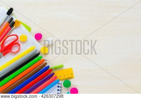 Bright Colorful School Supplies For School Or College. Stationery For School Children's Studies. Bac