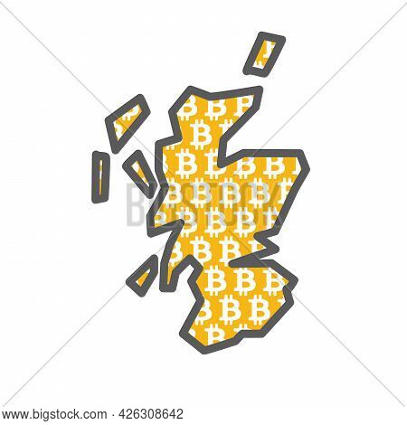 Scotland Country Map With Bitcoin Crypto Currency Logo