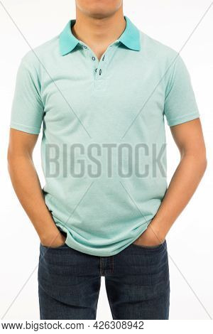Brown Skin Male Wear Blue Artic Shirt With Short Sleeve Hand Arm Defensive Gesture Man
