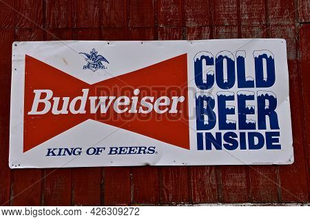 Geneseo, North Dakota, May 9, 2021:the Building Sign Advertises Budweiser, An American-style Pale La