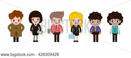 Group Of Working People Standing On White Background, Business Men And Business Women In Flat Design