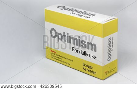 The Box Of An Optimism Medicine For Daily Use. Positive Thinking And Mindset. New Beginnings And Opp