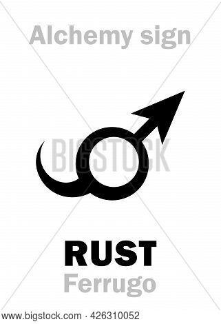 Alchemy Alphabet: Rust (ferrugo, Robigo) -- Corrosion, Reddish-brown Flaky Coating. Also: Crocus Of