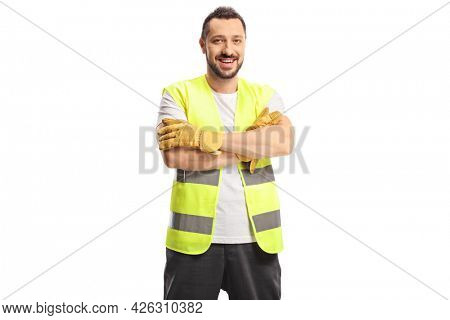 Smiling man waste collector in a uniform and gloves isolated on white background