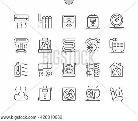 Heating. Temperature Regulator. Electric Batteries. Smart Heating. Fireplace. Pixel Perfect Vector T