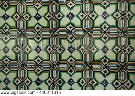 Traditional old tiles wall on the street, azulejos ceramic tilework. Porto, Portugal.