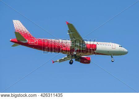 Saint Petersburg, Russia - May 29, 2021: Airbus A320-214 Chelyabinsk (vp-bzq) Rossiya Airlines On Th