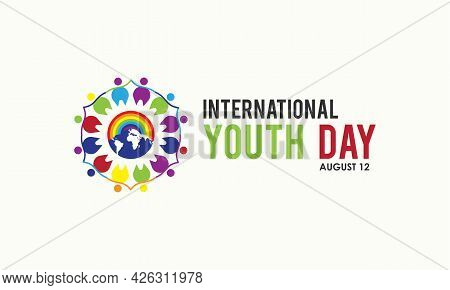 International Youth Day Observed On August Every Year. Banner, Poster, Card, Background Design. Cult