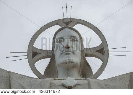 Vung Tau, Vietnam - December 22, 2015: Head Of 30-meter Sculpture Of Jesus Christ On Mount Nyo Close