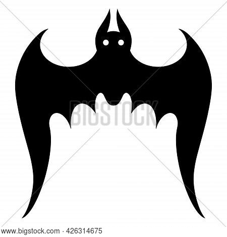 Bat Vector Icon. Isolated Illustration On A White Background. Black Silhouette Of A Nocturnal Predat