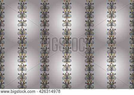 Classic Vintage Background. Golden Pattern On Gray, Black And White Colors With Golden Elements. Sea