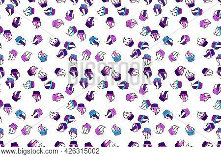For Food Poster Design. Raster Illustration. Bright Birthday Pattern On Black, White And Violet. Sea