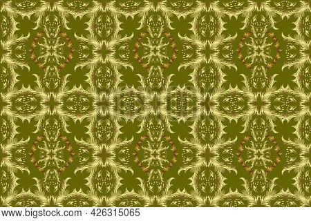 Ornate Raster Decoration. Golden Element On Neutral, Yellow And Green Colors. Vintage Baroque Floral