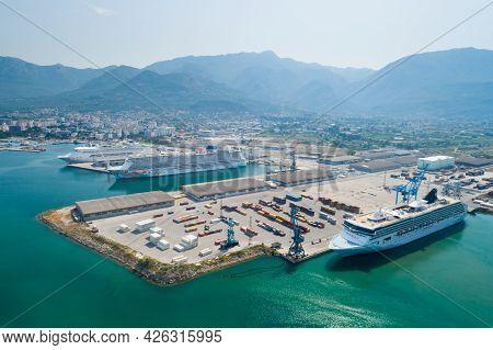 Bar, Montenegro - July 9, 2021: Cruise Ships Norwegian Spirit And Norwegian Getaway In Port, Aerial.