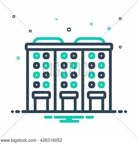 Mix Icon For Apartment Accommodations Residence Building Habitation Architecture Construction
