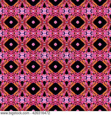 Geo Art Ornament. Purple, Pink, Lavender Carpet. Moroccan, Tunisian Motif. Turkish, Arab Seamless Pa