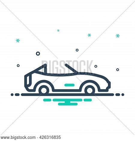 Mix Icon For Cabriolet Motor Motor-car Travel Transport Car Stylish