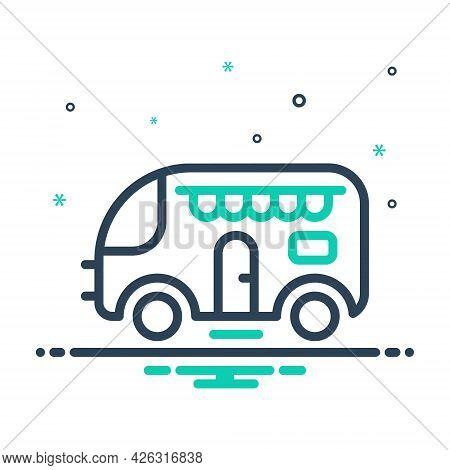 Mix Icon For Caravan Van Journey Tourism Transport Vehicle Shop