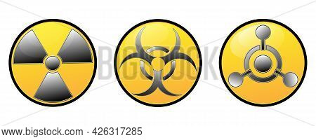 Set Of Circular Signs Of Warnings. Ionizing Radiation Sign, Poison, Toxic Sign And Biological Hazard