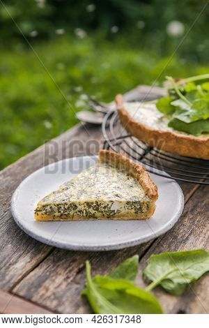 Quiche With Spinach - Traditional Dish Of French Cuisine. Spinach  Tart