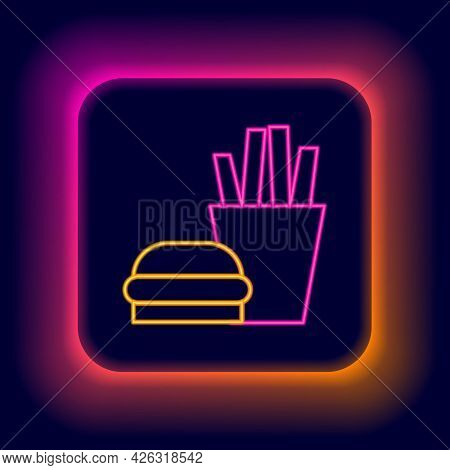 Glowing Neon Line Burger And French Fries In Carton Package Box Icon Isolated On Black Background. H