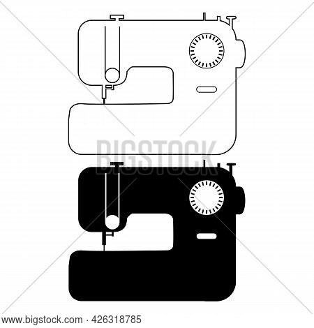 Sewing Machine Icon On White Background. Electronic Sewing Machine Outline Sign. Sewing Machine Logo